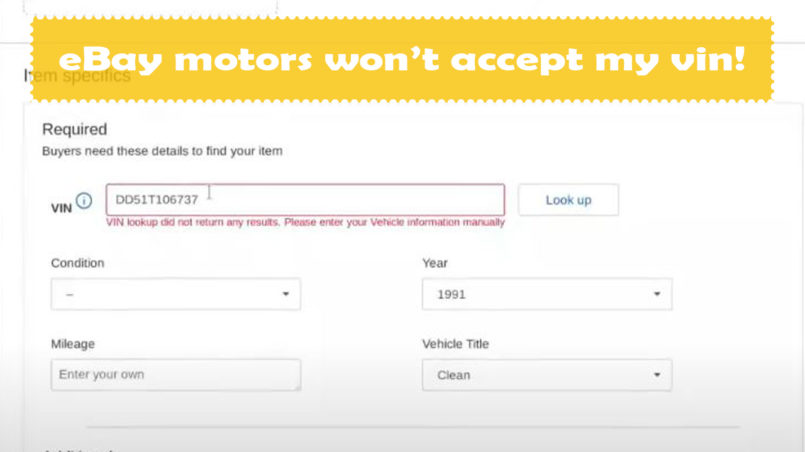 eBay motors won't accept VIN